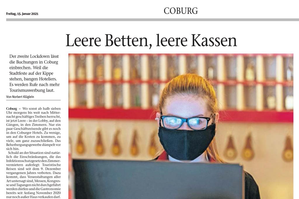 """Zeitungsartikel in der """"Neuen Presse Coburg"""""""